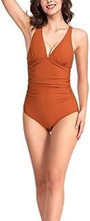 CASTDREAM Women's V-Neck Ruched Tankini Striped One Piece Swimsuits Brown Small [並行輸入品]