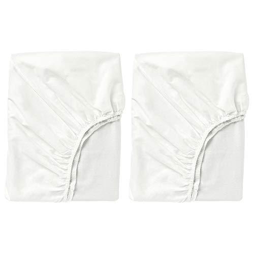 Ikea Fargmara Spannbetttuch, 90 x 190 cm, für Einzelbett, 100 % Baumwolle, Weiß, 2 Stück
