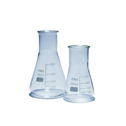 Pyrex 1140/10D Erlenmeyer Flask, Glass, 500 mL, Wide Neck (Pack of 10)