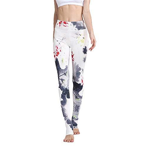 YUNSW Pantaloni da Yoga Stampati, Pantaloni Sportivi Sportivi con Motivo Floreale in Stile Cinese, Pantaloni Slim con Legging
