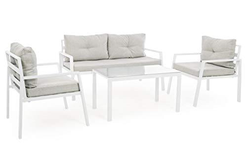 PEGANE Set de Salon avec 4 pièces Coloris Blanc
