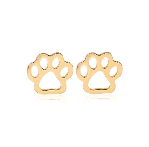Youkeshan Plata/oro/oro rosa de color hueco cachorro gato huella pendientes para mujeres Bear Palm Pendientes niña joyería (oro)