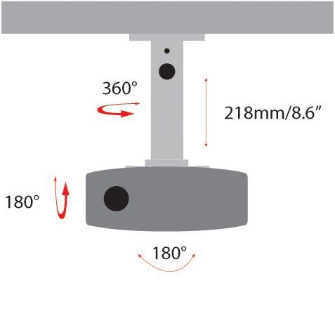 AMER Projector Mount - Universal Ceiling Bracket LCD DLP Tilt 360° Swivel 30lbs (White)