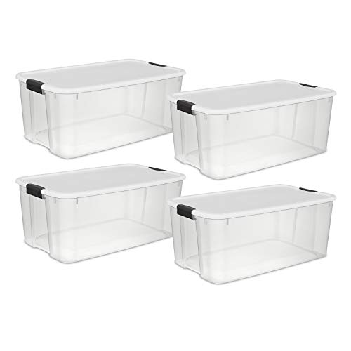 Sterilite 19909804 116 Quart/110 Liter Ultra Latch Box, Clear with a White Lid and Black Latches, 4-Pack