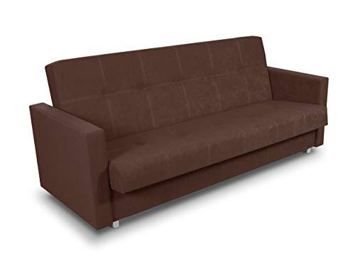 Schlafsofa Bettsofa Dave - Sofa mit Schlaffunktion und Bettkasten, Bett, Farbauswahl, Schlafcouch, Couch vom Hersteller, Couchgarnitur (Braun (Suedine 26))