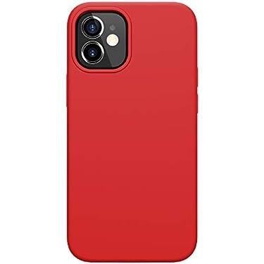 """Nillkin Case for Apple iPhone 12 Mini (5.4"""" Inch) Flex Pure Case Liquid Silicon Finish Anti Finger Print with Inner Microfibre Red Color"""