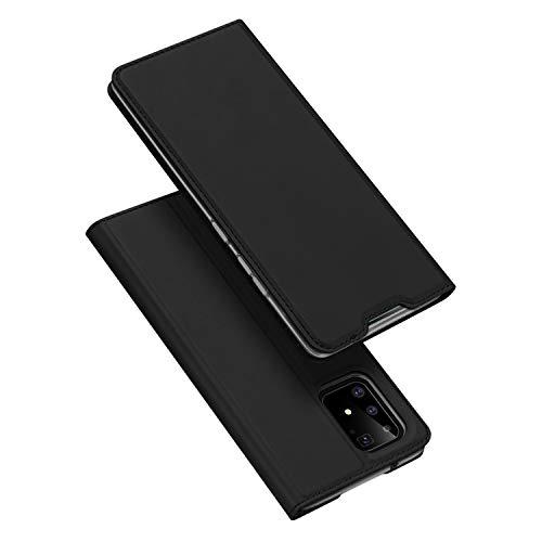 DUX DUCIS Hülle für Samsung Galaxy S10 Lite, Leder Klappbar Handyhülle Schutzhülle Tasche Hülle mit [Kartenfach] [Standfunktion] [Magnetisch] für Samsung Galaxy S10 Lite (Schwarz)