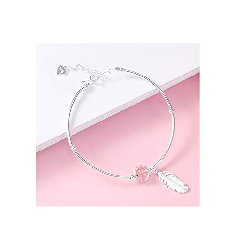 Buy and buy at Brandon Small Lucky Feather Bracelet S925 Sterling Silver Strawberry White Natural Stone Simple Wild Bracelet Girlfriends FemalePinkA