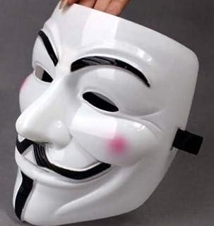 QG Group 2 unidades V para máscara facial Vendetta blanca para hombres – Máscara de hombre blanco – Máscara anónima para a...