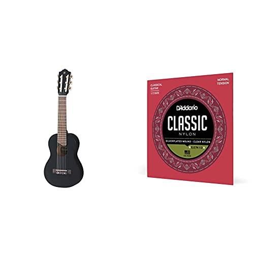 Yamaha Acoustic Guitalele, GL1 - Ein Hybrid aus Gitarre und Ukulele (70 cm) mit 6 Saiten (3 Nylon / 3 Metall umsponnen) - Schwarz & D\'Addario Nylonsaiten für Konzertgitarre | für 1/2 Gitarren