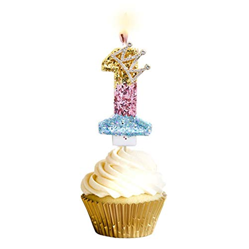 TIANTIAN Crown Number Candle, Glitter Diamond Birthday Cake Candles Topper Decoration for Party Wedding Anniversary