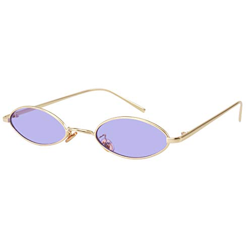 90S Retro Vintage Oval Small Sunglasses Tiny Slender Metal Frame Glasses For Women Men Style shades (Gold-Purple)