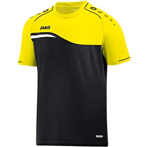 JAKO Competition 2.0 T-Shirt Homme, Noir/Jaune Fluo, 4XL