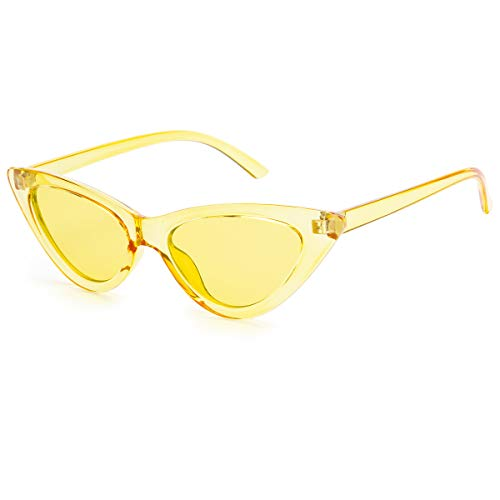 Livh Retro Vintage Narrow Cat Eye Sunglasses for Women Clout Goggles Plastic Frame (Clear yellow)