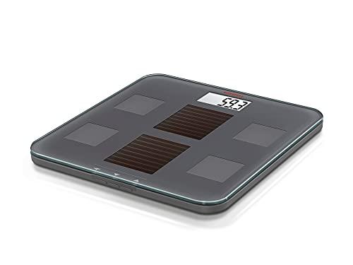 Soehnle Digitale Personenwaage Solar Fit mit Tages- und Kunstlichtfunktion, Körperwaage mit praktischer LCD-Anzeige, Waage ermittelt Gewicht, Körperfett- und Wasseranteil, keine Batterien notwendig