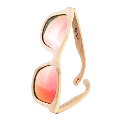 WOLA estilo cuadradas gafas de sol en bambú SURF mujer y hombre madera, sunglasses UV400 - polarisado rojo