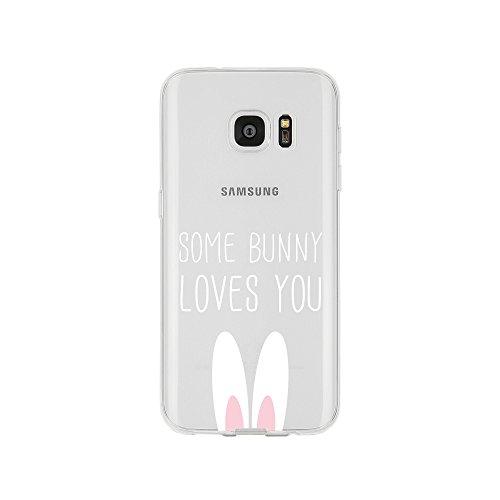 licaso Handyhülle kompatibel für Samsung Galaxy S7 I Schutzhülle aus TPU mit Some Bunny Loves You Print I Transparente Hülle Handy Aufdruck I Weich Silikon Durchsichtig