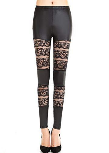Inception Pro Infinite Leggings Mujer - Cuero ecológico - Encaje Negro - Oscuro - gótico - Talla única - Idea de Regalo