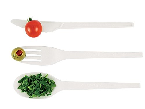Vegware Compostable RCPLA Spoons - White Pack of 50 - Made from Plants, Not Plastic