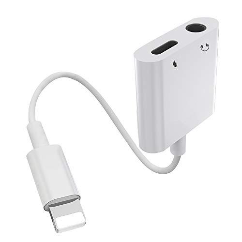 Adaptador de Auriculares para iPhone 12 Adaptador a 3,5 mm AUX Adaptador de Audio Divisor de Cable Compatible con iPhone 11 /11 Pro/ X/ XR/ XS/ 7/8 Dongle Accesorios Conector Compatible con Todo iOS