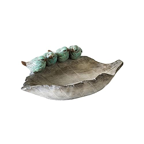 MYHZH Blatt-Design-Gusseisen-Vogel-Bade-Garten-Feeder-Weinlese-Schmuck-Tablett dekorative schäbige Chic-Display-Organizer-Plattenschüssel für Halskette