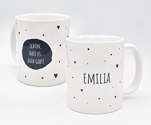 TASSENPALAST Personalisierte (Schön das es Dich gibt) Kaffee Tasse mit eigenen Wunschname. Für die Beste Freundin, Opa, Oma, Mama, Papa. Schönes Geschenk oder kleine Aufmerksamkeit (Grau auf Weiß)