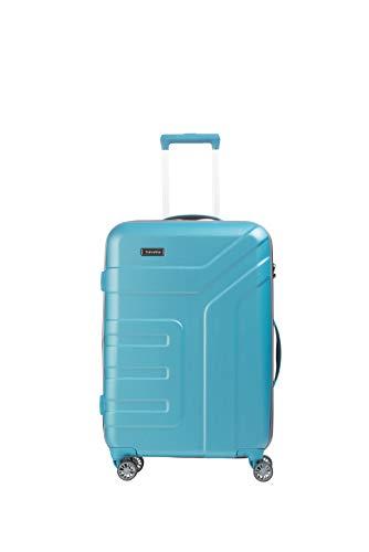 travelite 4-Rad Koffer Größe M mit Dehnfalte + TSA Schloss, Gepäck Serie VECTOR: Robuster Hartschalen Trolley in stylischen Farben, 072048-21, 70 cm, 79 Liter (erweiterbar auf 91 Liter), türkis