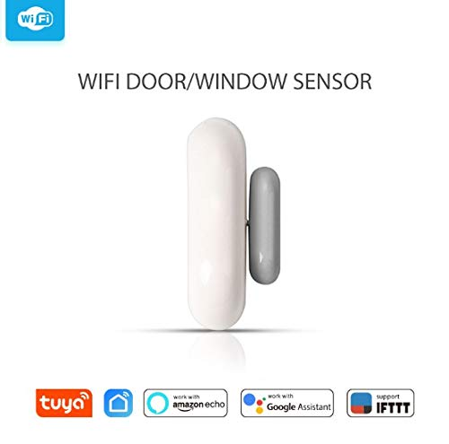 WiFi Smart Door Window Sensor, Opening Security Alarm Magnetische Home Automation Deurbel met APP Compatibel met Alexa Google Home IFTTT Thuis, Kantoor, Winkel