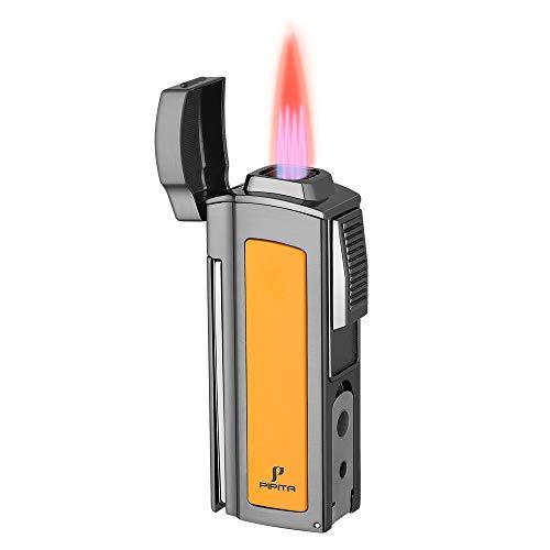 PIPITA Mechero Resistente al viento 4 Rojo Llamas Gas Butano Recargable Encendedor de cigarros Linterna Jet Flame Turbo Multifuncional Encendedors (Vendido sin Gas)