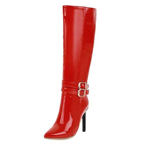 MISSUIT Damen Lackstiefel High Heels Kniehoch Stiefel Spitz Langschaftstiefel Stiletto Boots mit Schnallen und Reißverschluss(Rot,41)