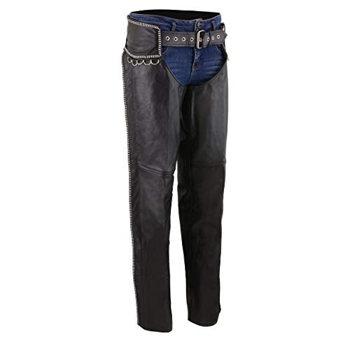 Milwaukee Leather MLL6502 Ladies Black Classic Leather Chaps with Rhinestones Bling - Medium