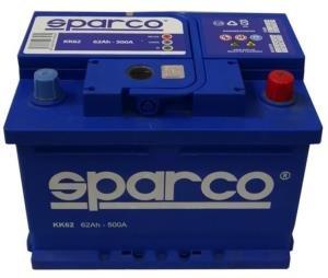SPARCO KK62- Batería para coche, 12 Voltios 62 Amperios, tecnología de plomo y calcio, gran potencia con 500 amperios de corriente de arranque (62 Ah)