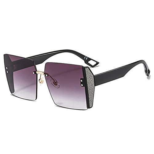 WANGZX Gafas De Sol Sin Marco De Gran Tamaño Gafas De Sol Decorativas De Cristal De Moda para Mujer Gafas De Sol Gradiente Sin Marco para Mujer Uv400