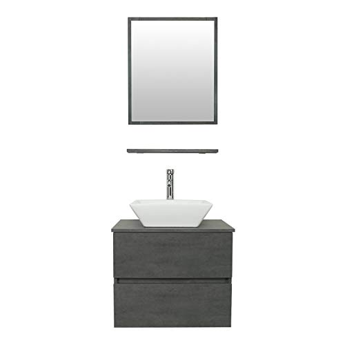 """eclife 24"""" Bathroom Vanity Sink Combo Wall Mounted Concrete Grey Cabinet Two -"""