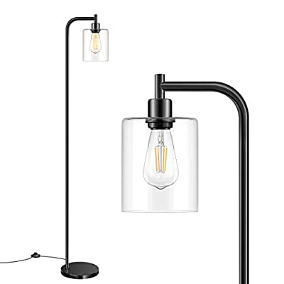 Industrial Floor Lamp with Hanging Glass Shade Black Farmhouse Indoor Pole Light with Edison E26 Base Vintage Rustic Standing Tall Lighting for Living Room Bedroom Office(Bulb Not Included)