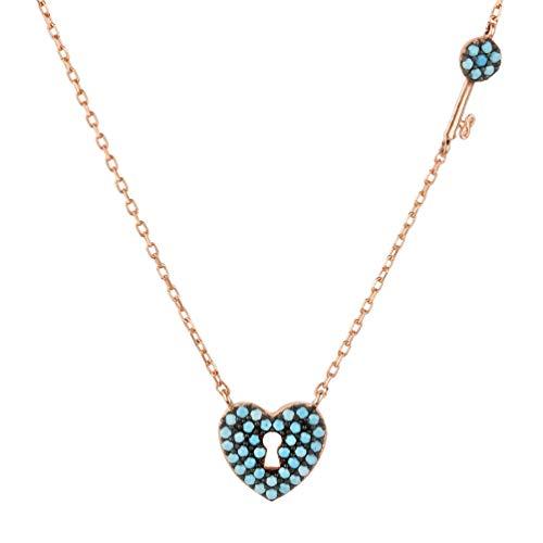 LATELITA Key to My Lock Heart Necklace Turquoise Rosegold