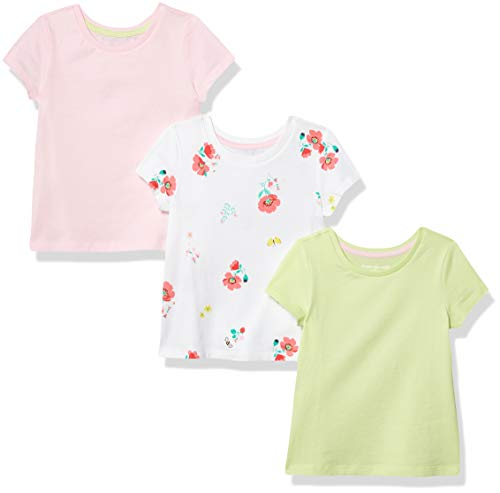 Amazon Essentials Girls' 3-Pack Short-Sleeve Tee, Floral, XS