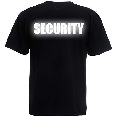 Shirt-Panda Herren T-Shirt · Security · Unisex Brust & Rücken Shirt für Sicherheitsdienst · 100{351d1004b3ee11a528a823d3db19dd038155b77060c7cfc616b0315fce3c5c8a} Baumwolle · hochwertiger Textildruck · Schwarz (Druck Reflektierend) L
