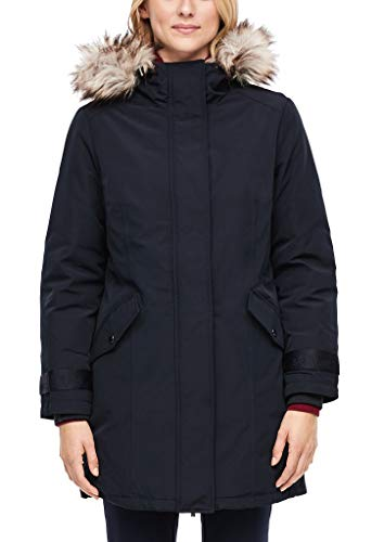 s.Oliver Damen Wintermantel mit Fake Fur Navy 38