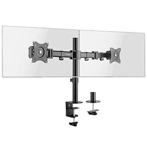 "VonHaus Dual Monitor Mount for 13-27"" Screens - Double Arm Desk Stand Bracket with Clamp - Ergonomic 90° Tilt, 360° Rotation & Twin 180° Swivel Arms - VESA Dimensions: 75x75-100x100"