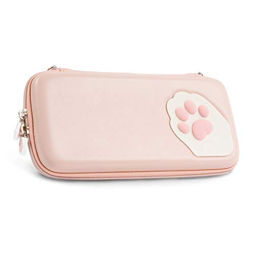 Geekshare Pink Cute Cat Paw Case for Nintendo Switch - Portable Hardshell Slim Travel Carrying Case fit Switch Console & Game Accessories - Adjustable and Removable Shoulder Strap