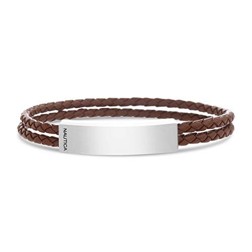 Nautica Stainless Steel Braided Leather Double Strand Polished Bar Bracelet for Men (Brown)