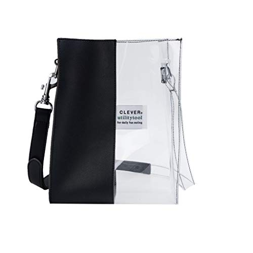 Darringls Borse Donna Borsa a Tracolla Crossbody Borse a mano in PU Borse Transparent Handbag Contrast Color Stitching Large Capacity Borsa a Tracolla