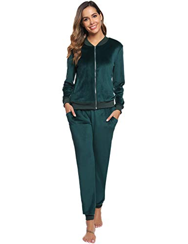 Abollria Women's Solid Velour Sweatsuit Set Hoodie and Pants Sport Suits Tracksuits Green