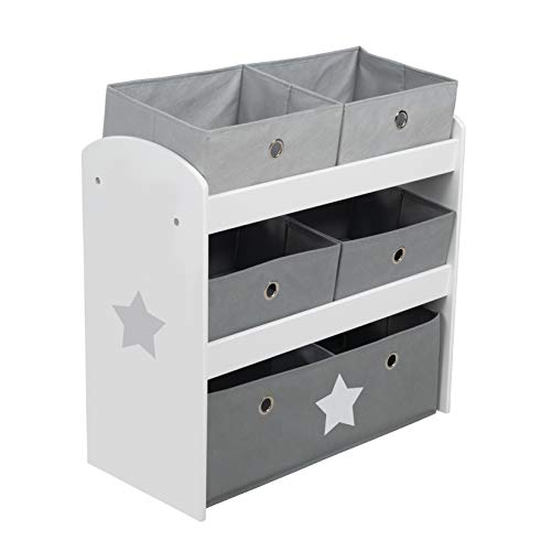 roba Spielregal Stars, Spielzeugregal mit fünf Stoffboxen für Kinder, Aufbewahrungsregal fürs Kinderzimmer, Spielregal für Jungen und Mädchen