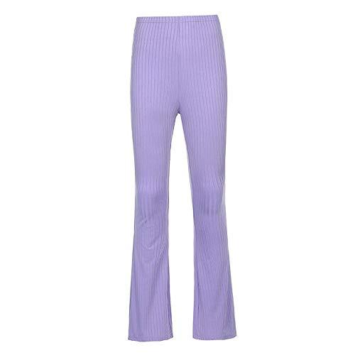 JUGUU Purizones de Color Puro Pantalones de Cintura Alta Ajustada para Mujer Deportes de Mujer Pantalones Casuales-púrpura_S