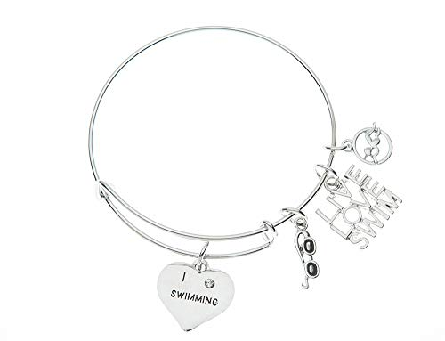 Swim Bangle Bracelet- Girls Swimming Bracelet- Swim Jewelry - Perfect Gift For Swimmers