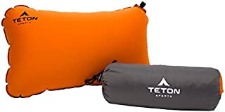 TETON Sports ComfortLite Self-Inflating Pillow; Support Your Neck and Travel Comfortably; Take it on the Airplane, in the Car, Backpacking, and Camping; Washable; Stuff Sack Included
