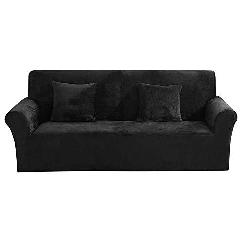 Jetcloud - Funda gruesa para sofá de 1/2/3 plazas de terciopelo de felpa, fácil ajuste, elástica, tela elástica, protector de sofá o muebles, terciopelo elastano, negro, 195-230cm