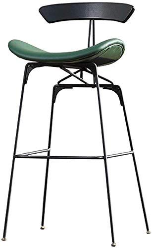 Wghz Alta del Asiento de Cuero de imitación del Taburete de Bar con Patas de Metal Negro Simple Moderno para Oficina  Cocina  Pub  Taburetes de café - Verde/Naranja Alto 80cm-Verde